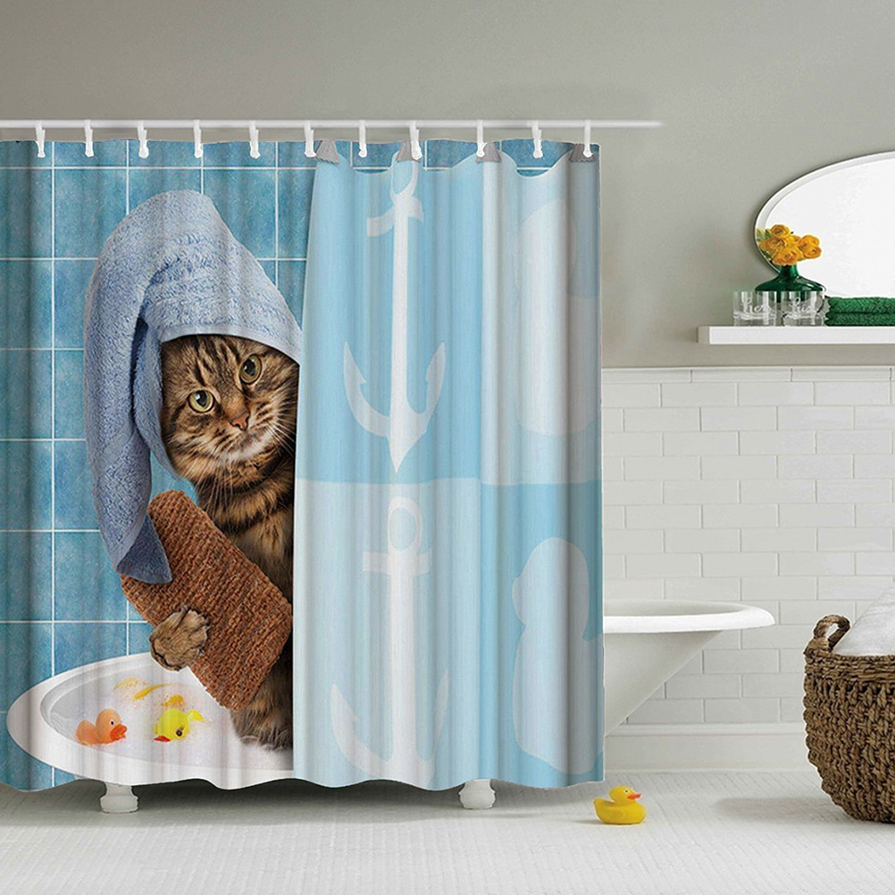 Lovely Cat Printing Shower Curtain Polyester Waterproof Cloth Shower Curtains Bathroom Curtain Bathing Curtain Bath Room Curtain|Shower Curtains| - AliExpress