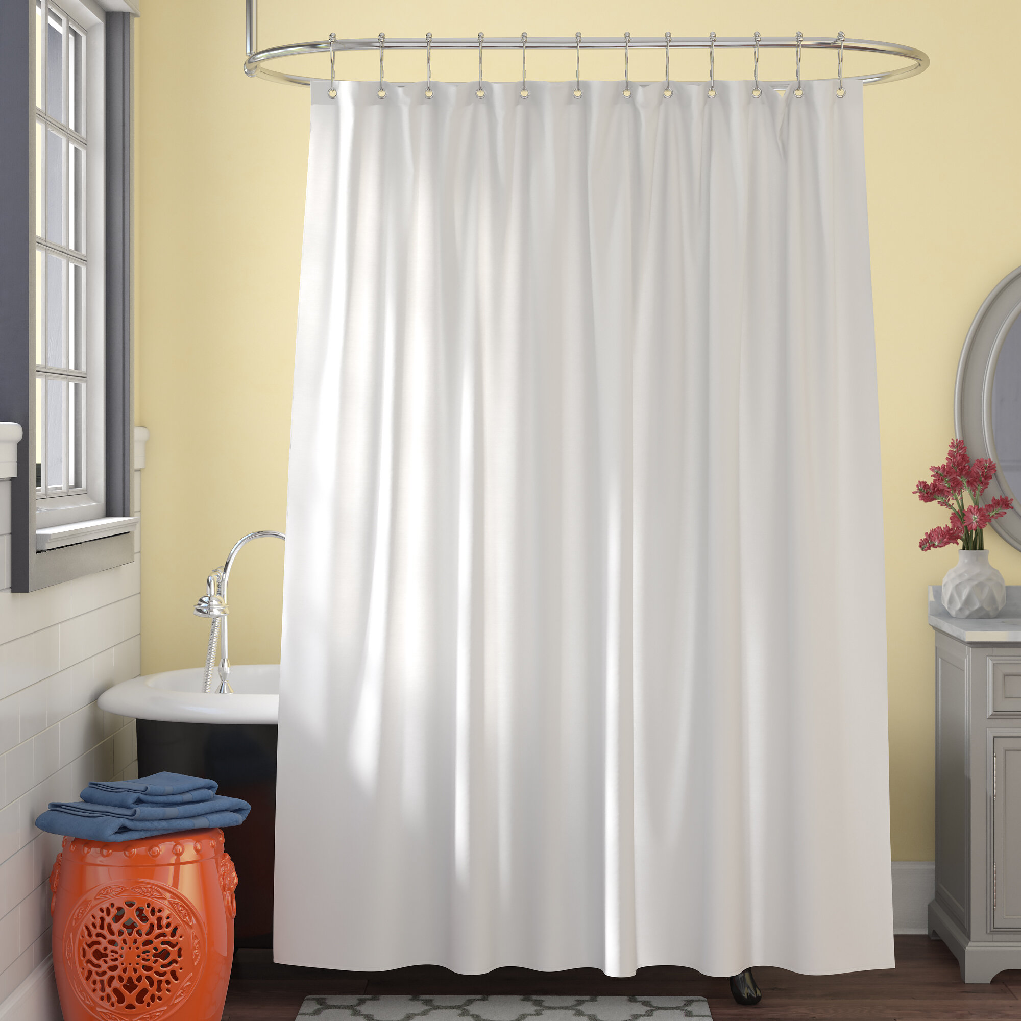 Symple Stuff Microban Microfiber Fabric Single Shower Curtain Liner & Reviews | Wayfair